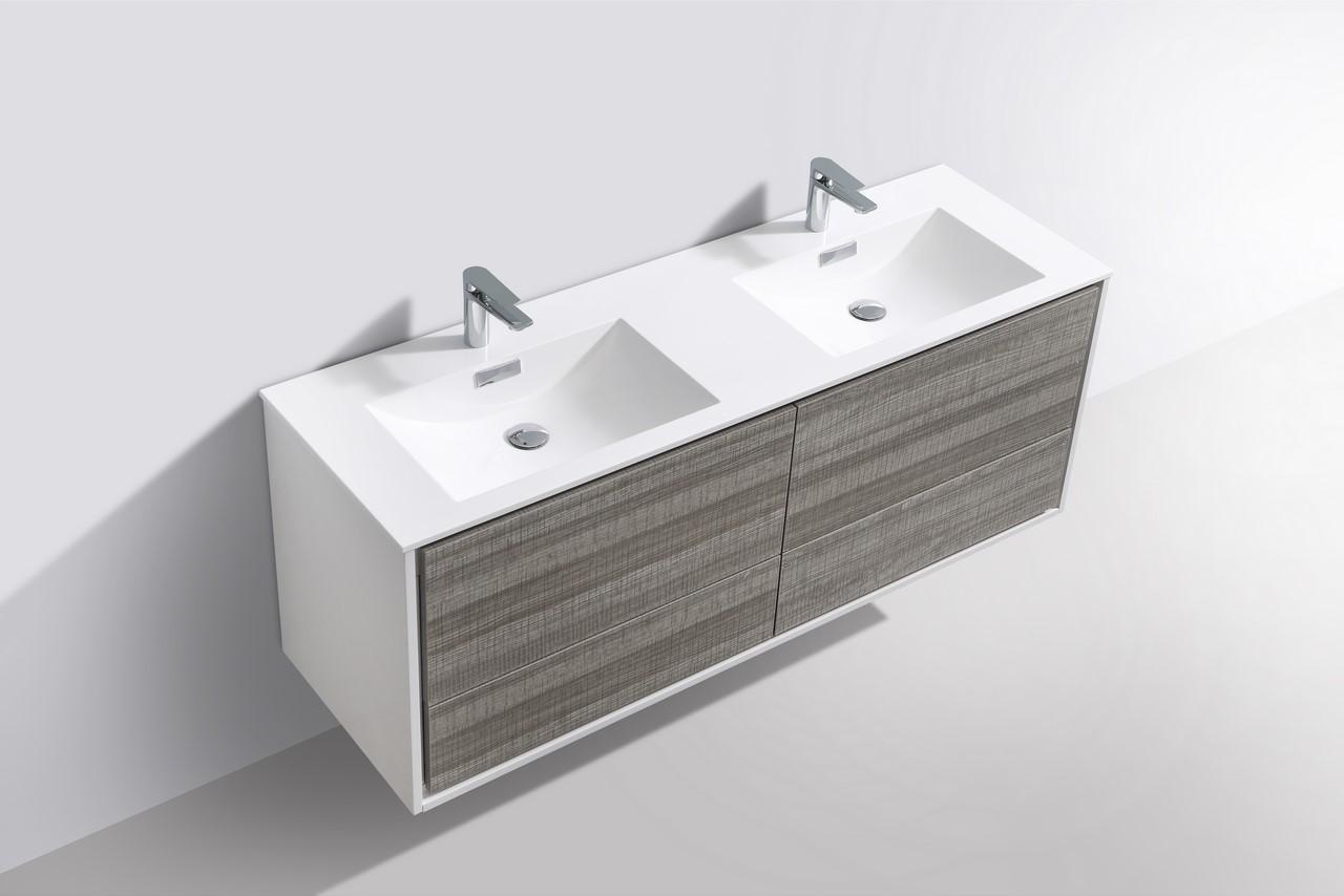 De Lusso 60 Double Sink Ash Gray Wall Mount Modern Bathroom Vanity Montreal Vanity