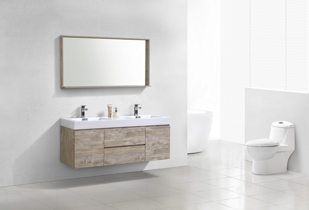 Bliss 60 Nature Wood Wall Mount Double Sink Modern Bathroom Vanity
