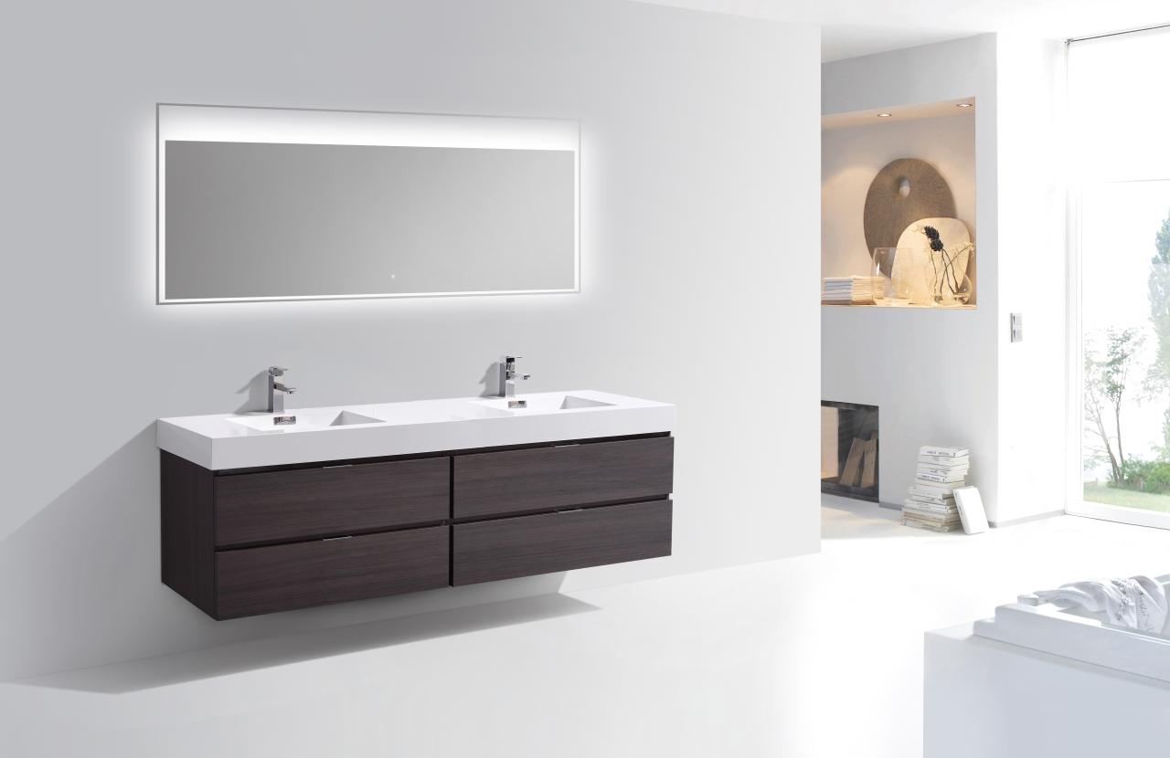 Bliss 80 High Gloss Gray Oak Wall Mount Double Sink Vanity