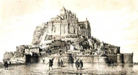 """""""Gravure du Mont Saint Michel avant 1879, Normadie, France """""""