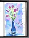 Gerro amb flors (aquarel·la i tinta) | Jarrón con flores (acuarela i tinta) | Vase with flowers (watercolor and ink).