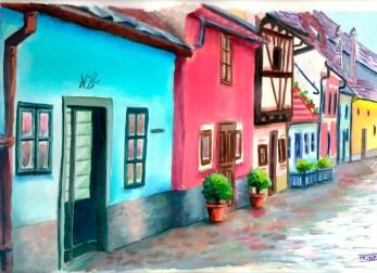 """Carrer de l'Or"". Dins del recinte del castell, Praga (Rep. Txeca). | ""Calle del Oro"" dentro del recinto del castillo, Praga (República Checa). | ""Golden lane"", street at the Prague Castle (Czech Republic)."