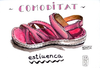 Sandàlia (comoditat estiuenca). Aquarel·la i tinta sketch| Sandalia (comodidad veraniega). Acuarela y tinta sketch | Sandal (summer comfort). Watercolour and ink sketch