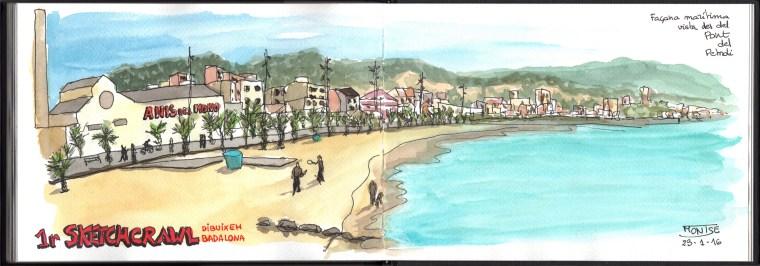 Platja de Badalona, 1r Sketchcrawl Dibuixem Badalona