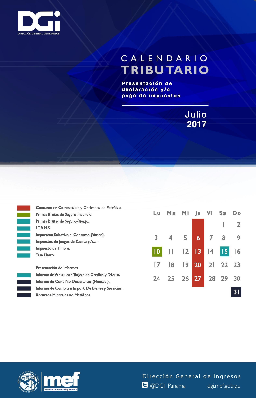 Calendario de Impuestos a Vencer en el mes de Julio 2017
