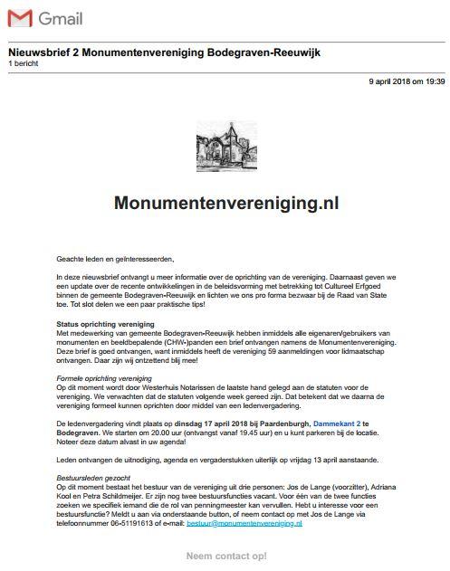 Nieuwsbrief 02 Monumentenvereniging