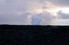 Smoke from where the lava hits the ocean