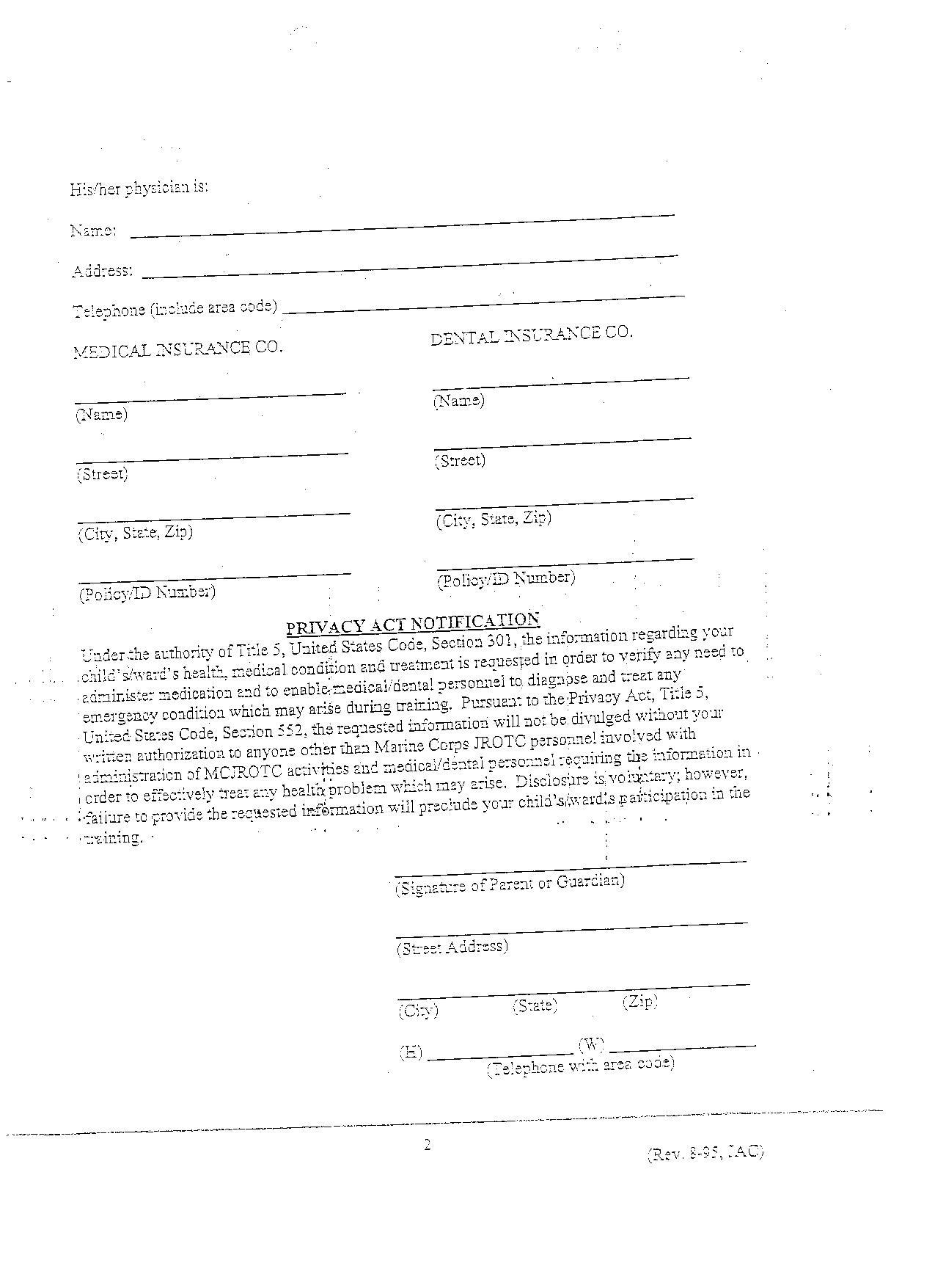 Marine_JROTC: Standard Release Form Back