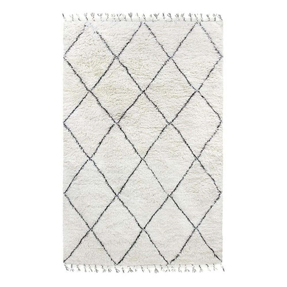 tapis berbere en laine noir blanc