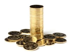 Closeup of a golden coins