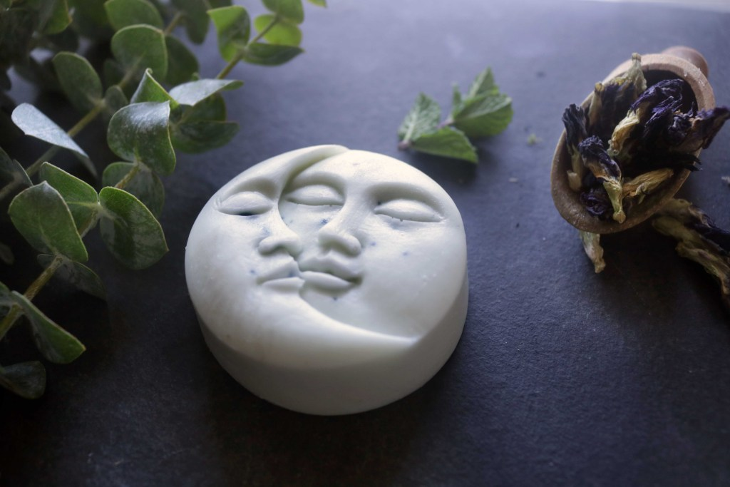 Magickal Moon Soap tutorial with eucalyptus and mint.  This is a super easy, melt-and-pour recipe.   No messing around with lye or caustic chemicals!