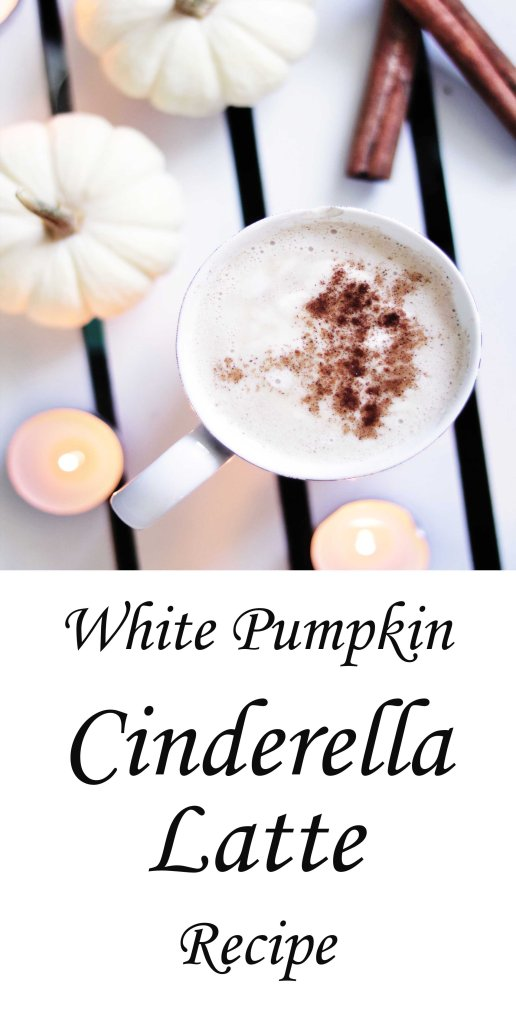 Vegan white pumpkin Cinderella latte recipe with coconut whipped cream.