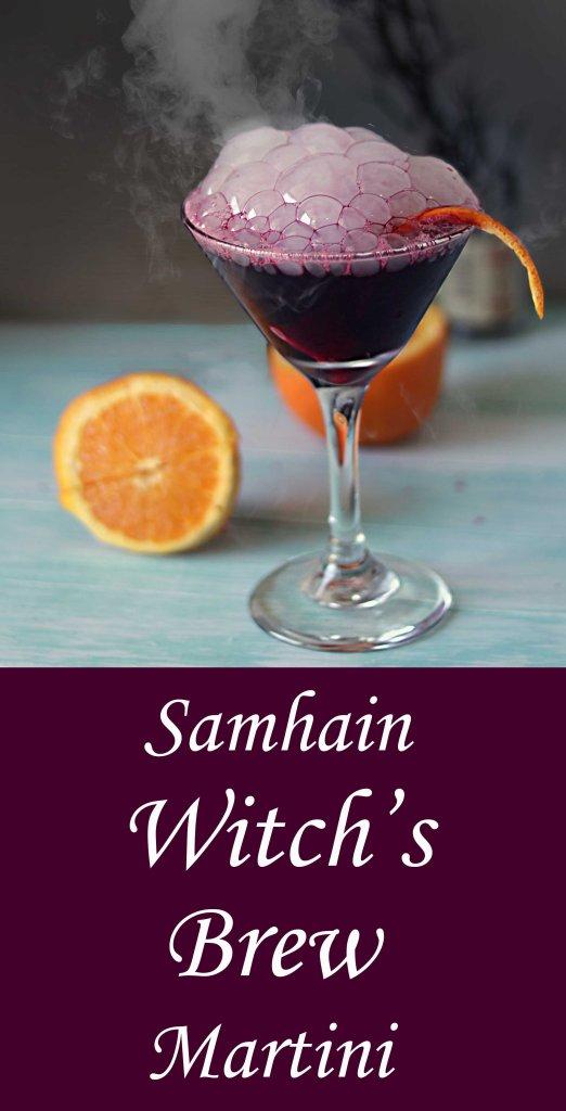 Samhain black magic martini with tart cherry juice and dry ice.