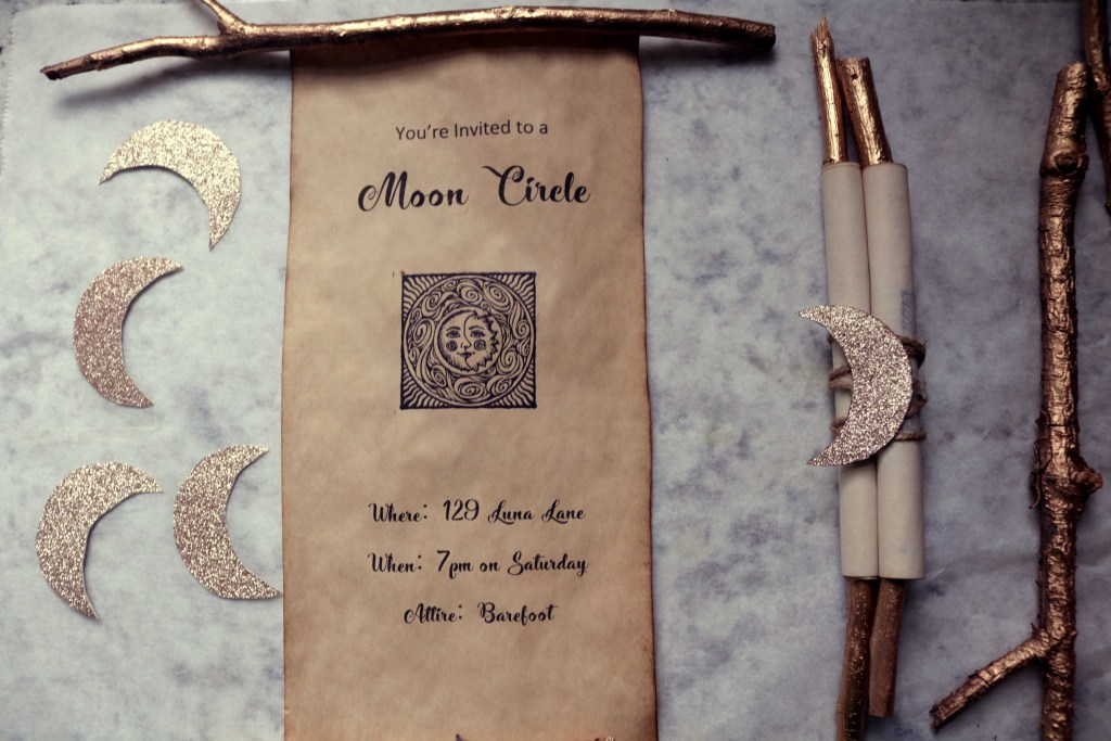 Women's moon circle party spell scroll invitations. An easy DIY craft to get a moon circle or new coven off the ground.