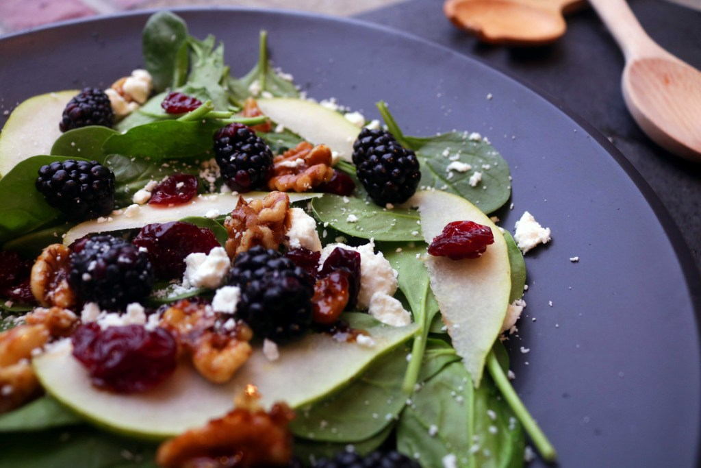Sweet dried cherries, fresh pears and candied walnuts make this delightful goddess bowl a bountiful meal for Beltane.
