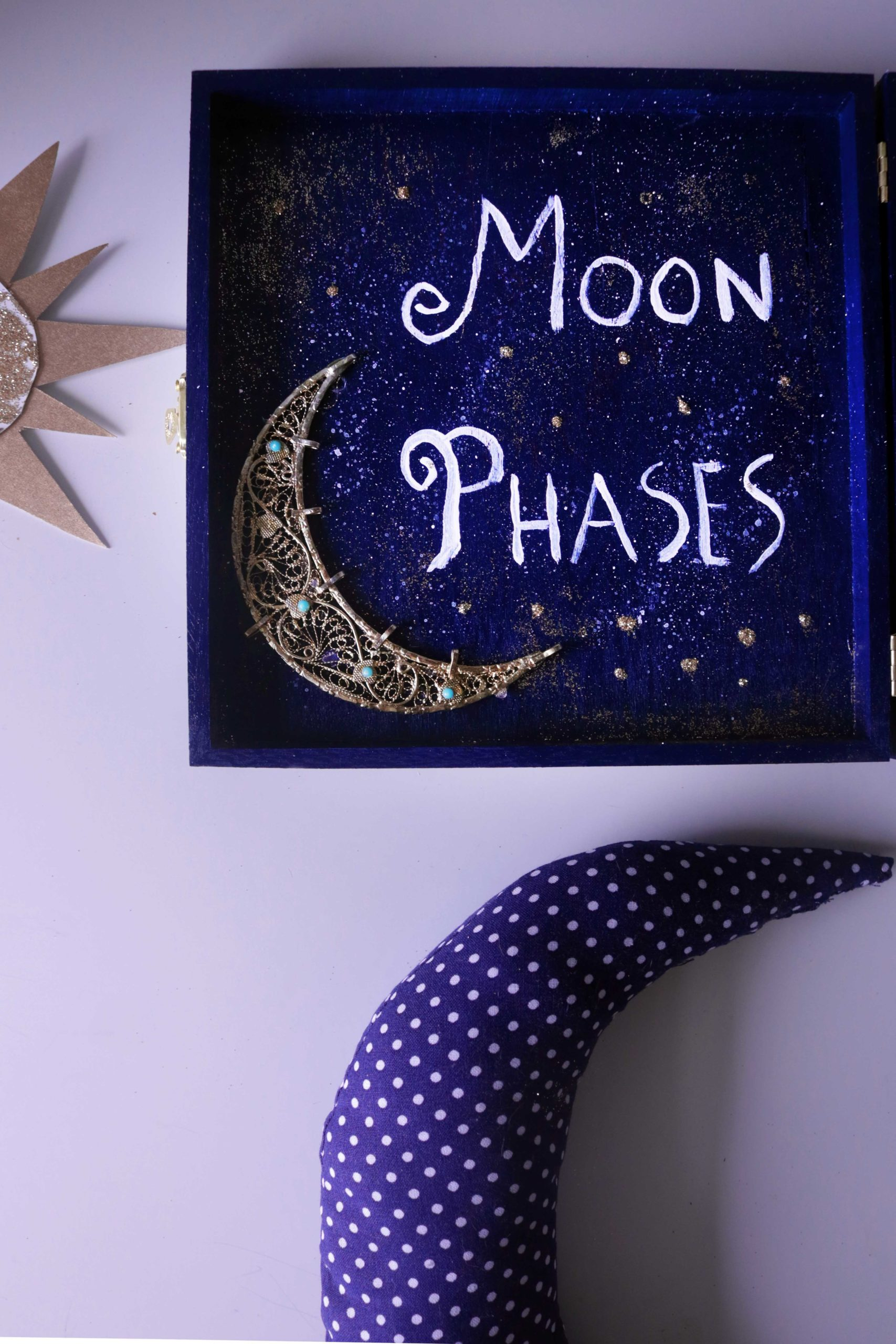 Moon phase tracking altar for Esbats or to stay in tune with the lunar cycle.