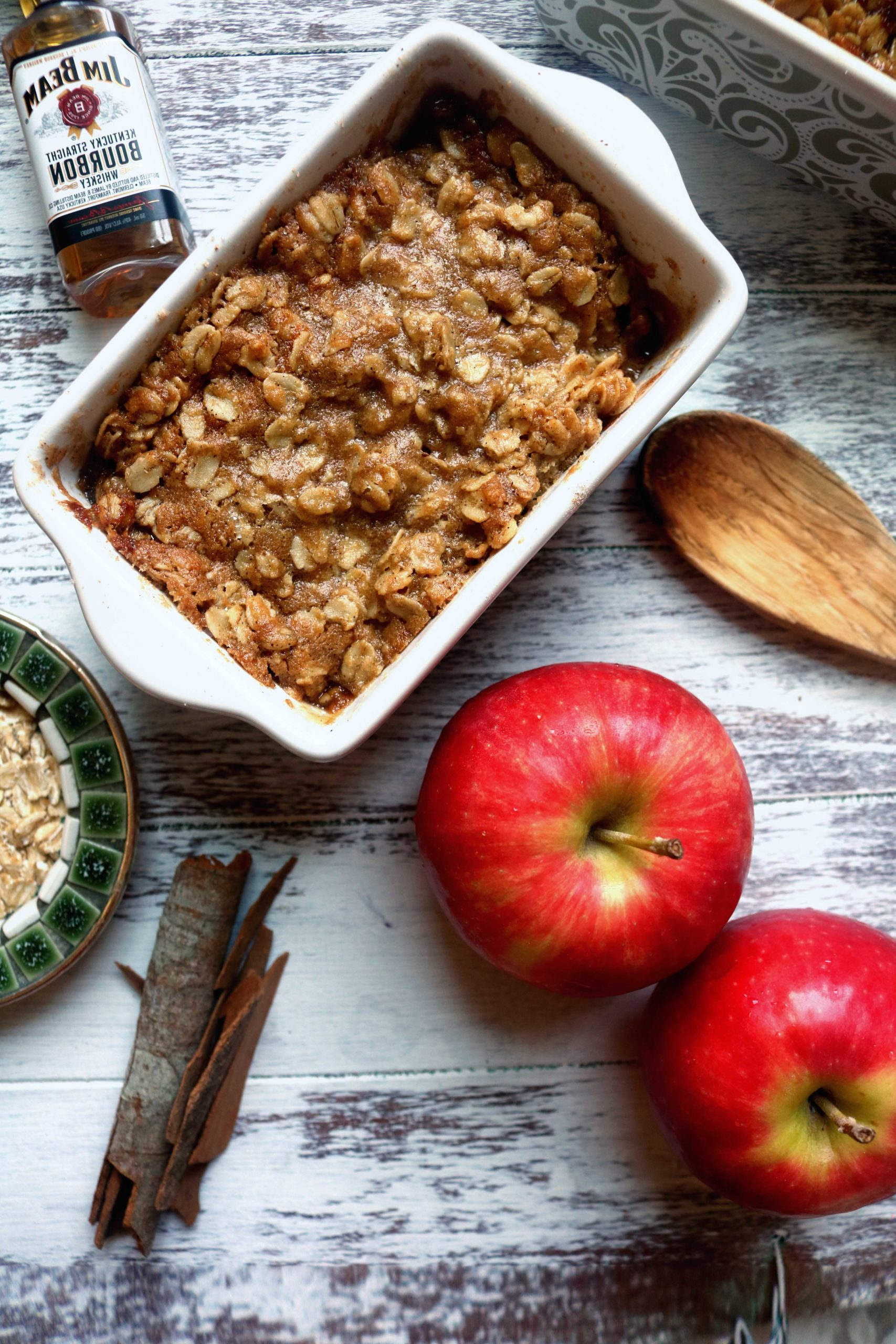 Bourbon apple crisp recipe for Mabon, the Fall Equinox or Thanksgiving.