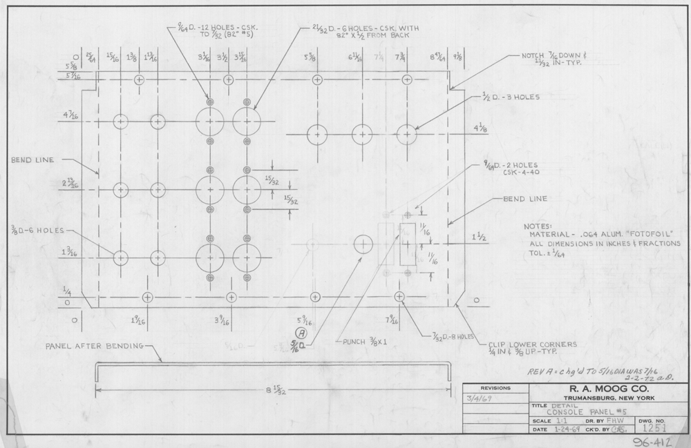 Detail/Console Panel #5: This is a 1969 drawing of the