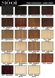 colour chart - mooi hair extensions