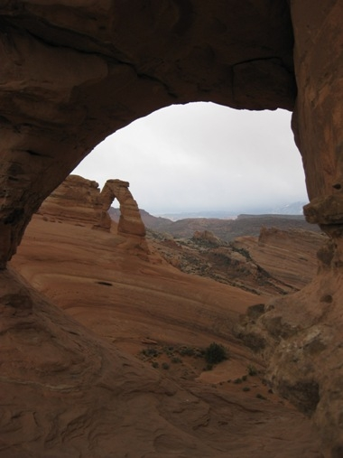 View through the Delicate Arch at Arches National Park.