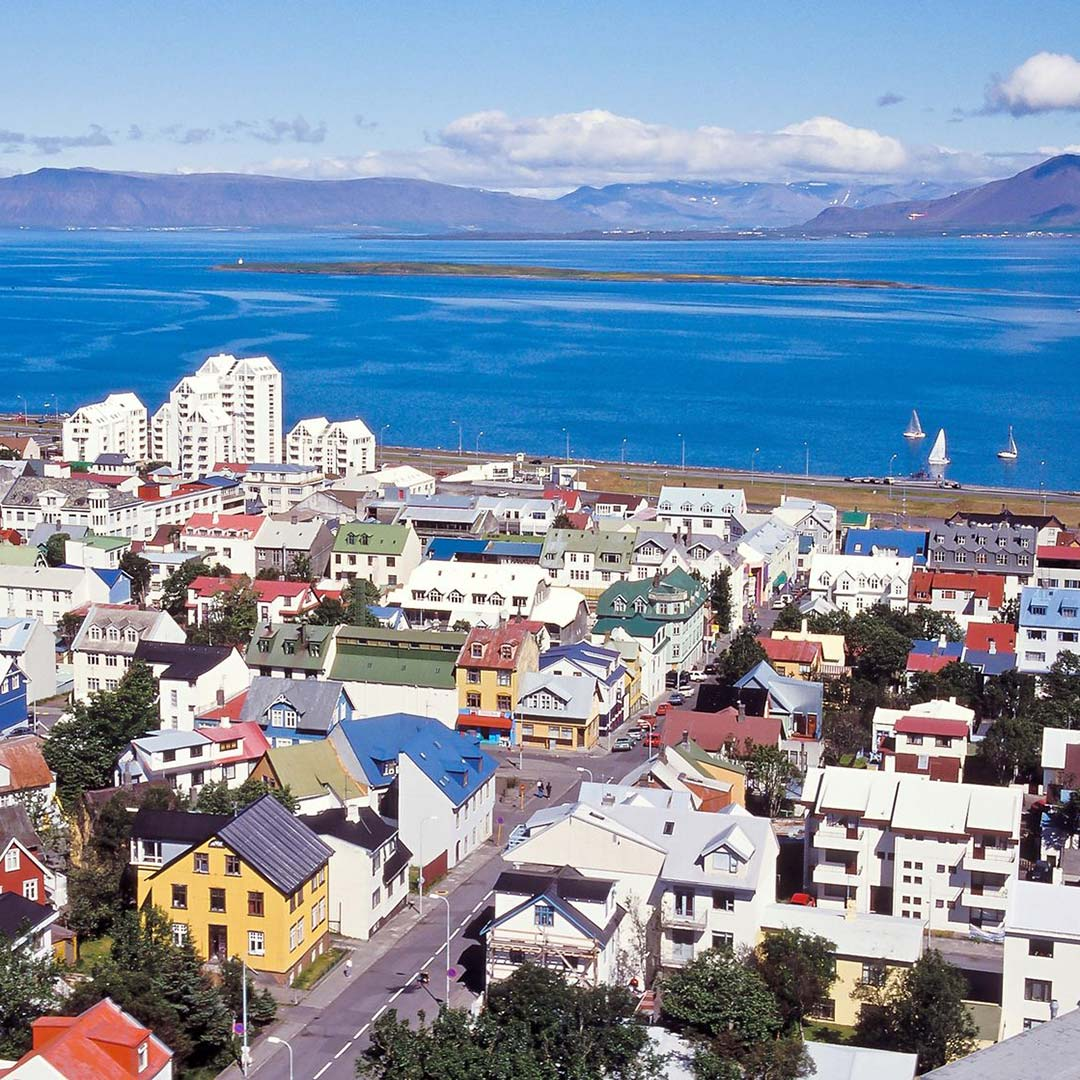 view of Reykjavik buildings and harbor from above
