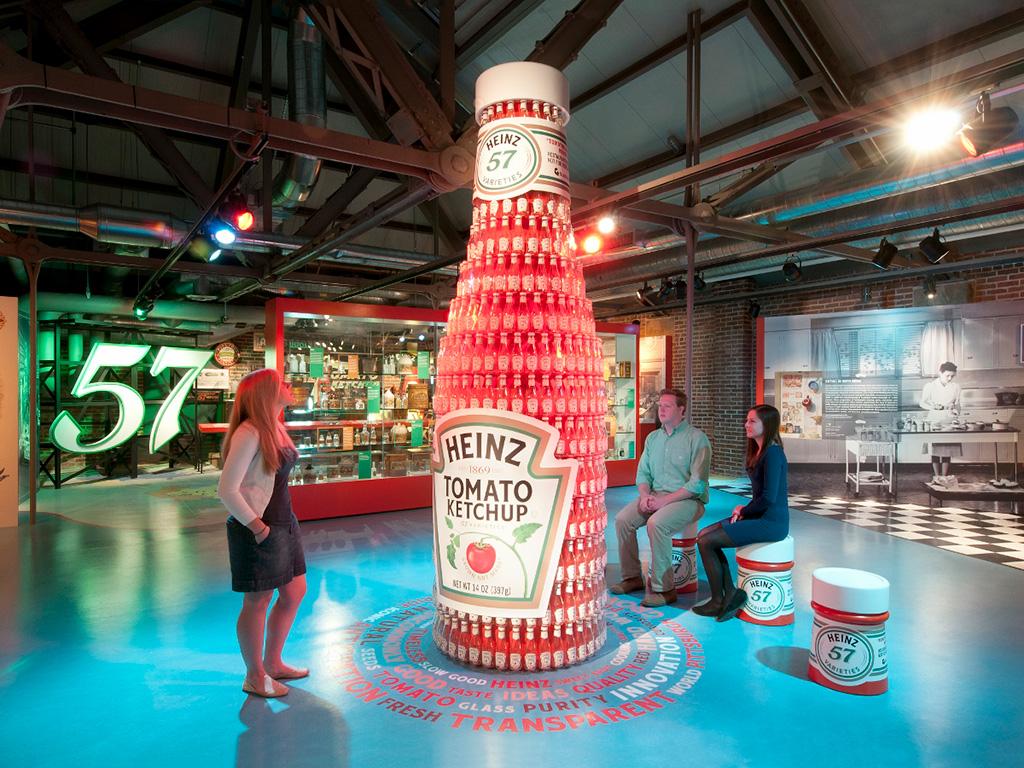 ketchup bottle art installation in the Heinz Center