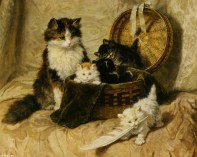 Henriette Ronner-Knip (koty w koszu)