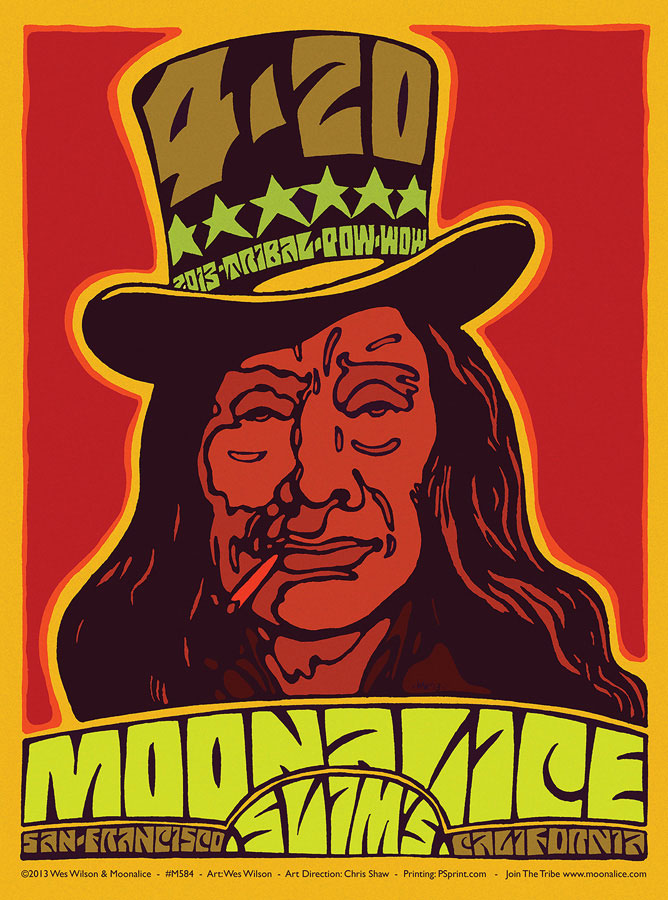 M584 › 4/20/13 420 Tribal Pow-Wow at Slim's, San Francisco, CA poster by Wes Wilson