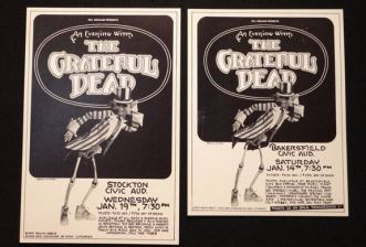 Two of three rare Grateful Dead posters from January 1977 – Stockton Civic Auditorium, Bakersfield Civic Auditorium, and the Shrine Auditorium in LA