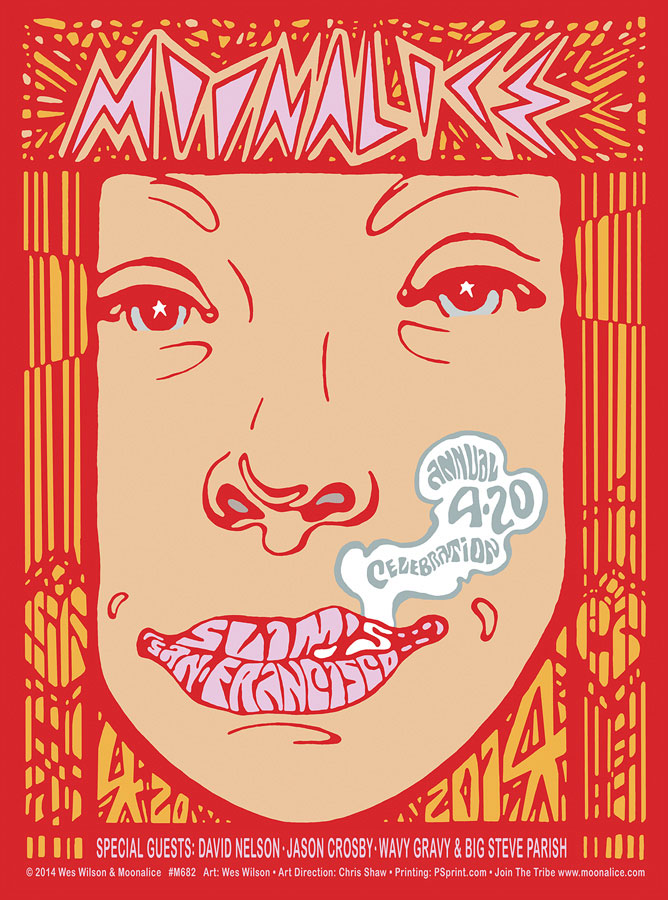 M682 › 4/20/14 420 Gathering of the Tribe at Slim's, San Francisco, CA poster by Wes Wilson