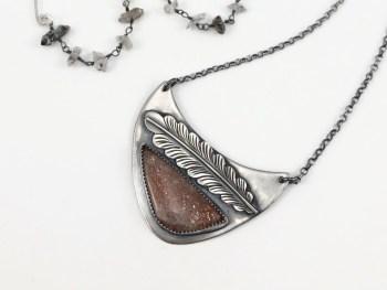 Sunstone Feather Necklace