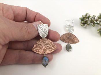 Sterling Copper Fan Earrings
