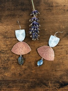 Sterling Copper Fan Earrings