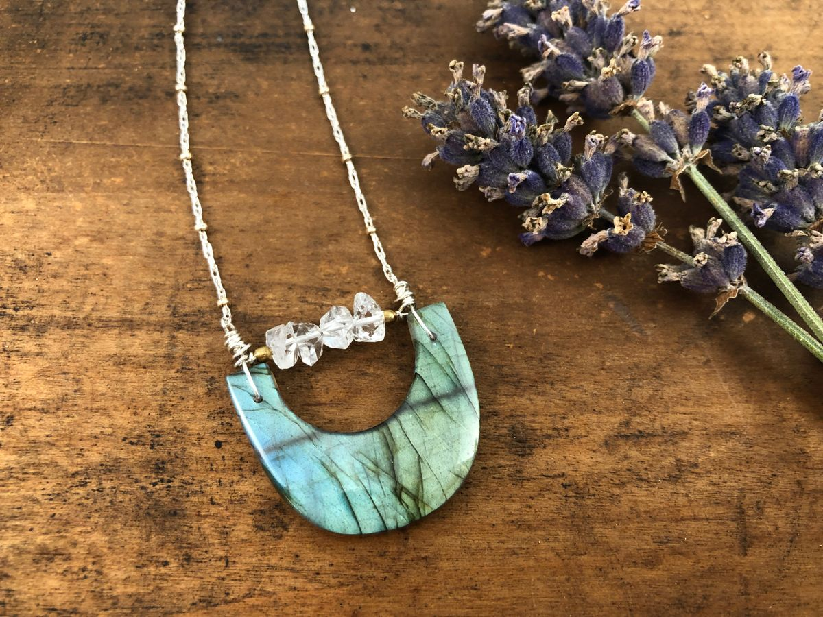 labradorite crescent necklace