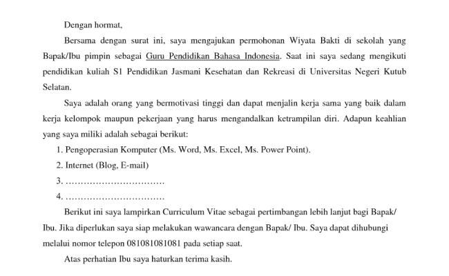 Contoh Surat Lamaran Kerja Di Buku Bahasa Indonesia Kelas
