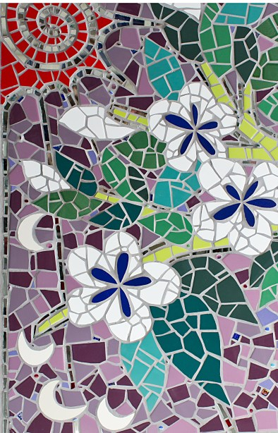 Detail of blossoms in mosaic tree