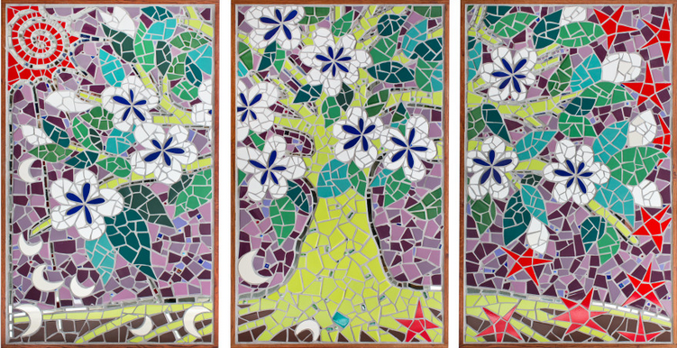 three part mosaic mural of a tree of life with sun and moons and stars