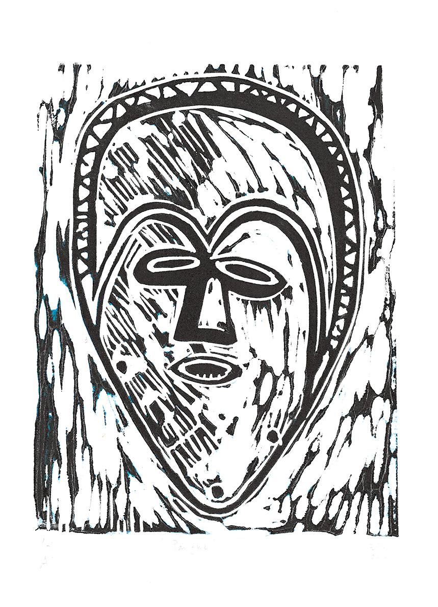 Studio-workshop maskers en gezichten. Pangwe masker, linoleumsnede, 2016