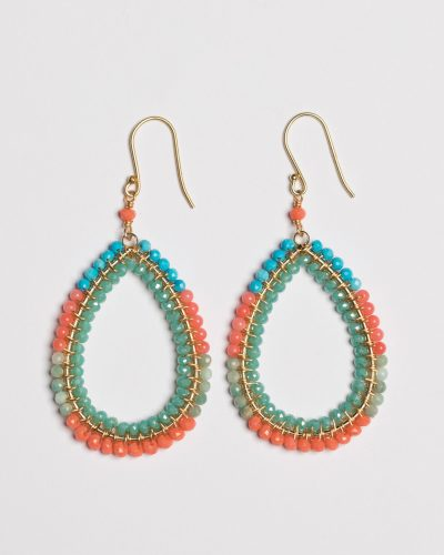 Medium Block Earring Wrapped in Corals