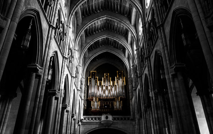 The organ sounded