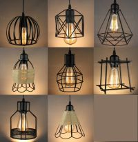 VINTAGE INDUSTRIAL METAL CAGE BLACK CAFE LOFT BAR PENDANT ...