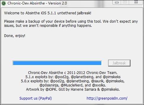 ios 5.1.1jb 完美越獄教學 Absinthe 2.0 Untethered Jailbreak