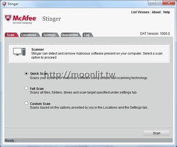 免費快速掃毒程式 McAfee Stinger Portable