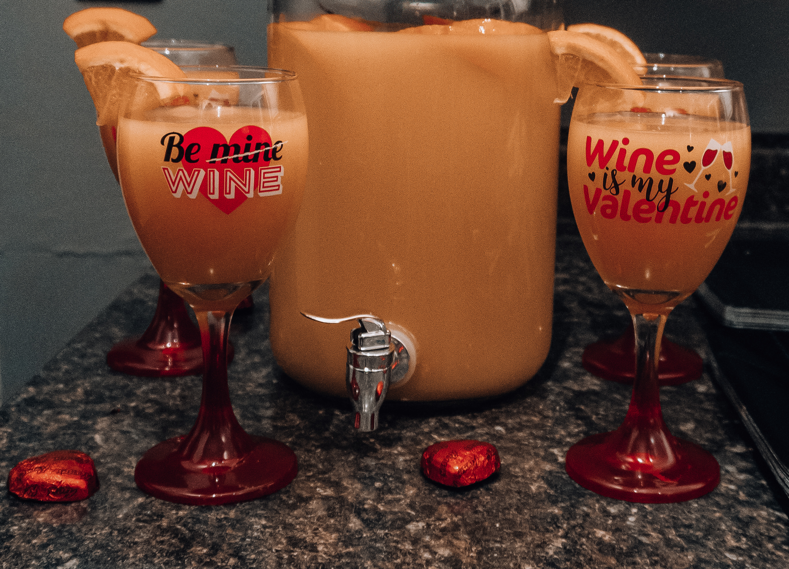 Mimosa's with Valentine's Day Wine Glasses
