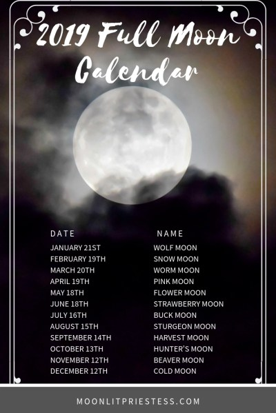 Full Moon calendar for 2019 with common full moon names ...