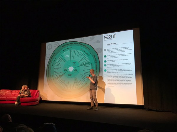 """""""The Blob"""" A branded infographic by Moonloft used to communicate the E2M model at the charity's launch event."""