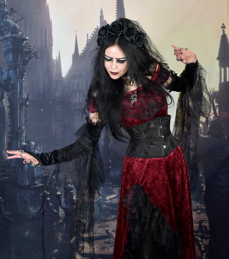 Dios De La Muerte Dress - crushed velvet medieval gypsy goth dress