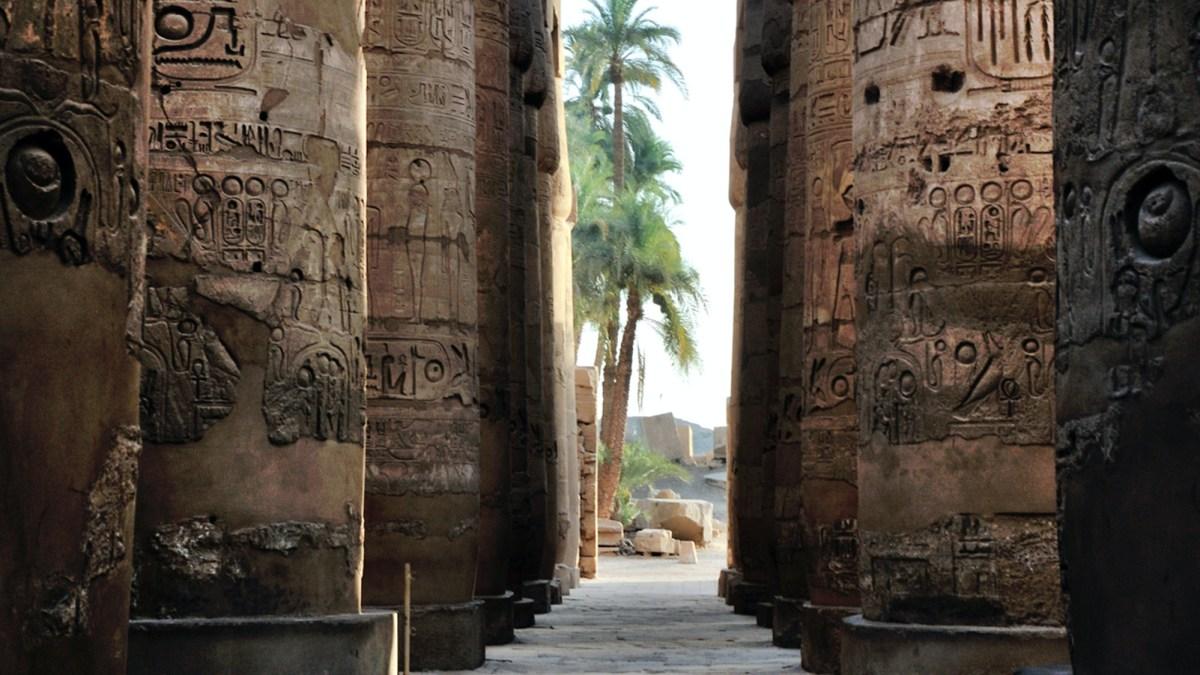 Egyptian column with hieroglyphs