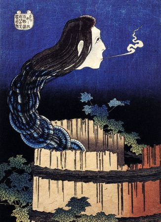 Illustration of Okiku in the well by Katsushika Hokusai, most known for making the The Great Wave off Kanagawa, painting. From the one hundred ghost tales series.