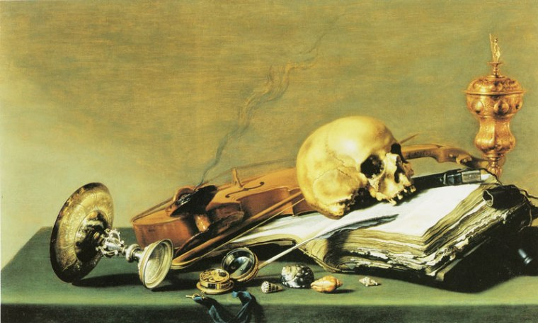 painting of skull violin shells and a open book